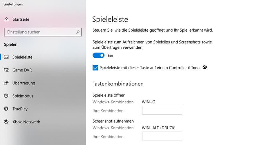 Windows 10 Spieleleiste