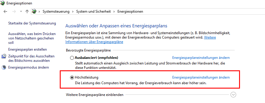 Windows-Energieoptionen-Höchstleistung