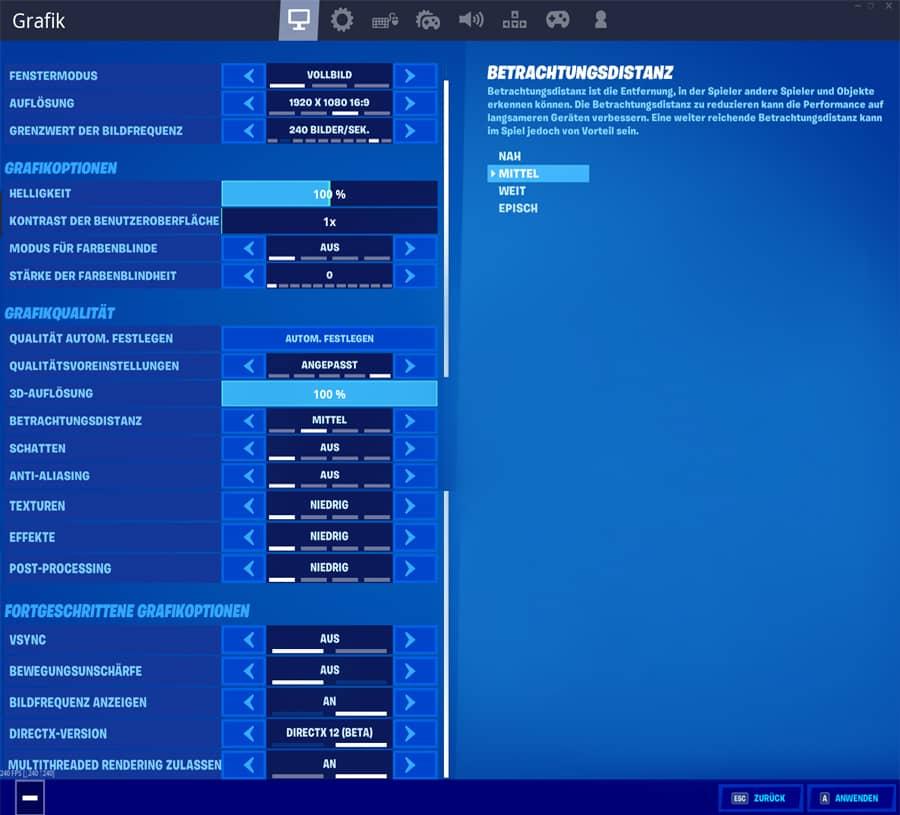 Empfohlene Grafikeinstellungen um mehr FPS in Fortnite bekommen zu können
