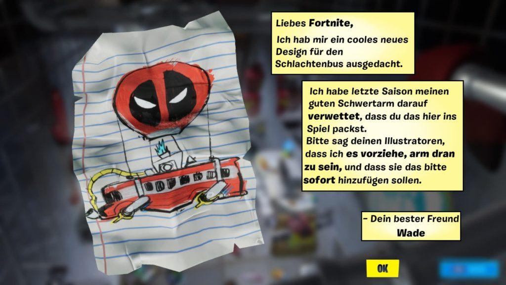 Fortnite Deadpool Brief an Epic Games