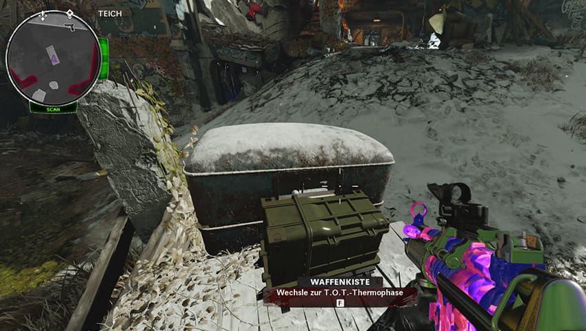 Waffenkiste am Teich für Feuer T.O.T.-Wunderwaffe